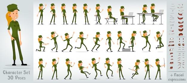 Conjunto de vector grande de dibujos animados soldado plano chica personaje
