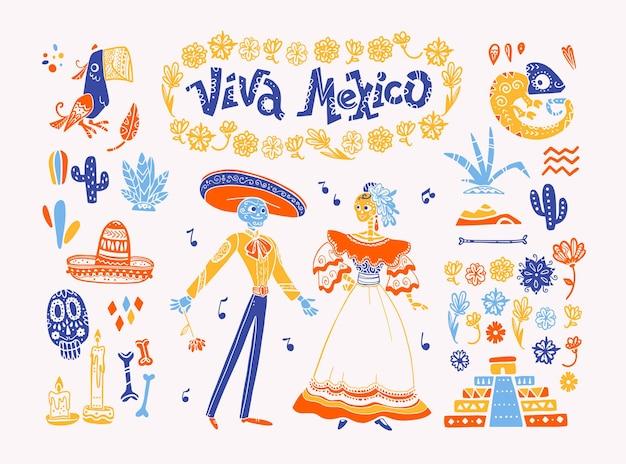 Conjunto de vector grande de elementos de méxico, personajes esqueléticos, animales en estilo plano dibujado a mano aislado sobre fondo blanco. iconos de fiesta, celebración, patrones nacionales, decoración, comida tradicional.