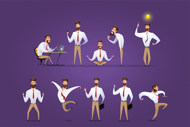 Conjunto de vector grande de poses de carácter empresario, gestos y acciones.