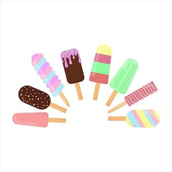 Conjunto de vector de helado aislado sobre fondo blanco. colección postres fríos