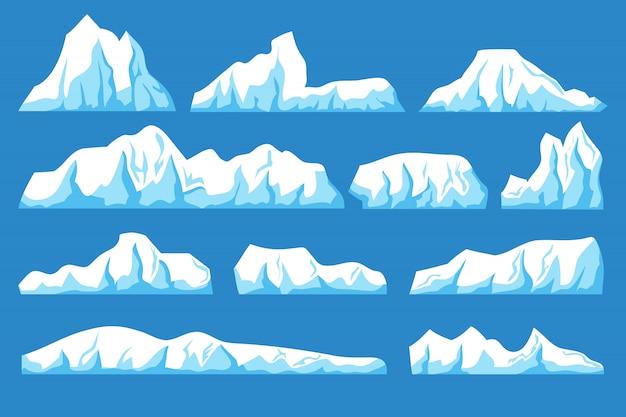 Conjunto de vector de iceberg flotante de dibujos animados. paisaje de rocas de hielo marino para el concepto de protección del clima y el medio ambiente