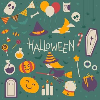 Conjunto de vector de icono de halloween aislado