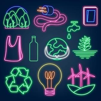 Conjunto de vector de ilustración de medio ambiente de letrero de neón, ecológico