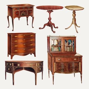 Conjunto de vector de ilustración de muebles vintage, remezclado de colección de dominio público