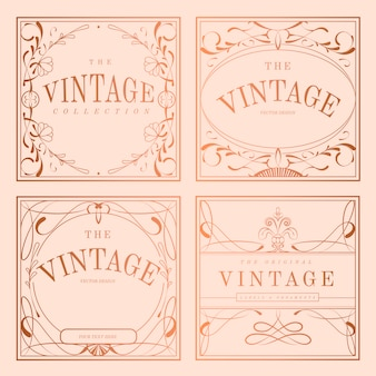 Conjunto de vector de la insignia del art nouveau de oro rosa vintage
