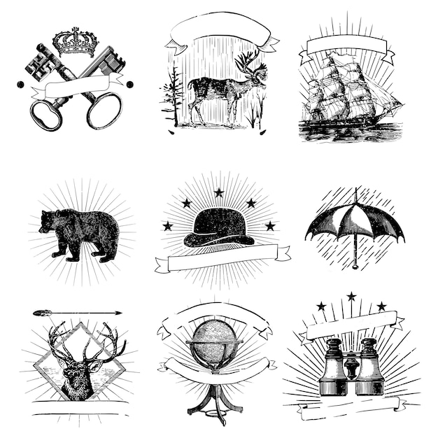 Conjunto de vector de insignias vintage