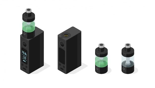 Conjunto de vector isométrico de cigarrillo electrónico y vapeo de e-líquido en el tanque atomizador. dispositivo de voltaje variable del vaporizador personal de la mod de la caja moderna