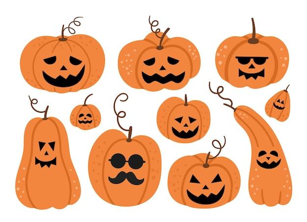 Conjunto de vector jack-o-lanterns. ilustración de fiesta de halloween con linternas de calabaza divertidas. diseño aterrador para la fiesta autumn samhain. colección de elementos del día de todos los santos.