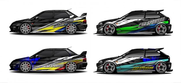Conjunto de vector de kit gráfico de vehículo. fondo abstracto moderno para marca de envoltura de automóvil y librea de calcomanías de calcomanías