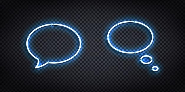Conjunto de vector de letrero de neón aislado realista del logotipo de speech bubble para diseño de plantilla y maqueta.