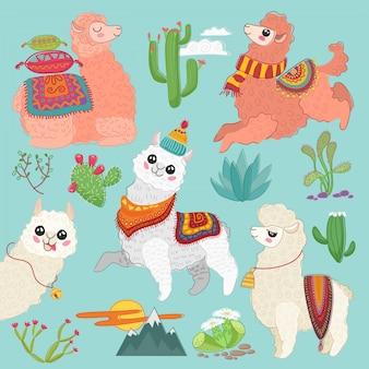 Conjunto de vector lindo alpaca lama y elementos de cactus del desierto.