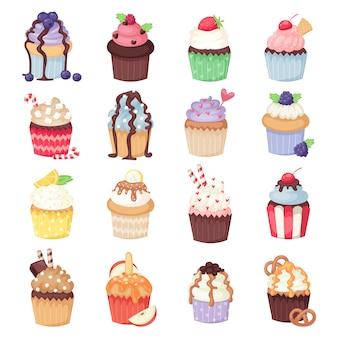 Conjunto de vector lindo cupcakes y muffins aislados en blanco