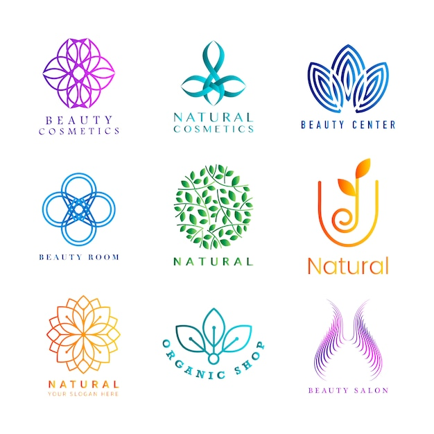 Conjunto de vector logo colorido cosméticos naturales