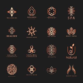 Conjunto de vector logo spa y belleza