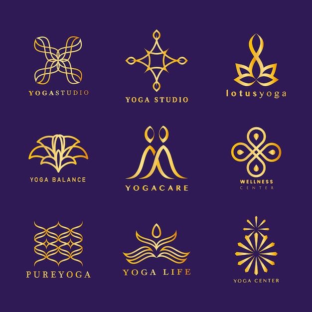Conjunto de vector logo de yoga