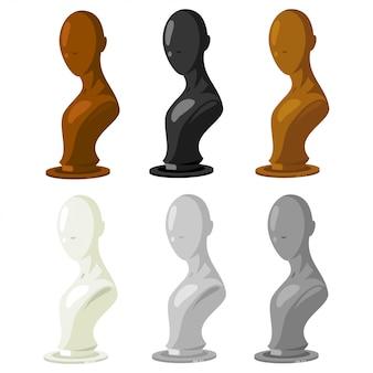 Conjunto de vector de maniquí. modelo de tienda de accesorios de moda para joyas, pelucas, sombreros, gafas, etc. ilustración de dibujos animados aislado