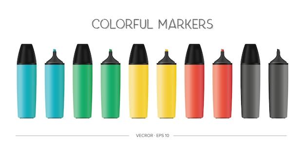 Conjunto de vector de marcadores multicolores realistas.