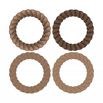 Conjunto de vector de marco de cuerda monocromo negro redondo. colección de círculos gruesos y delgados aislados