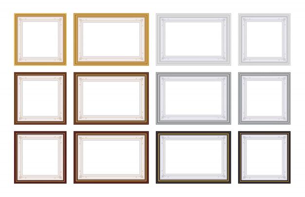 Conjunto de vector de marco con espacio en blanco para tu foto