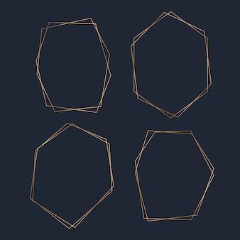 Conjunto de vector de marco hexagonal en blanco dorado