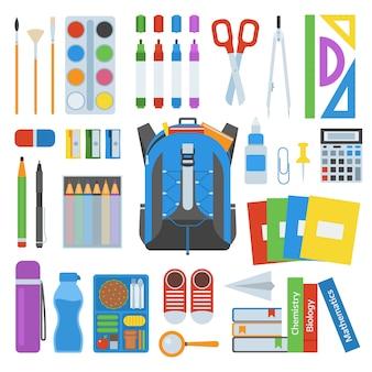 Conjunto de vector de mochila escolar.
