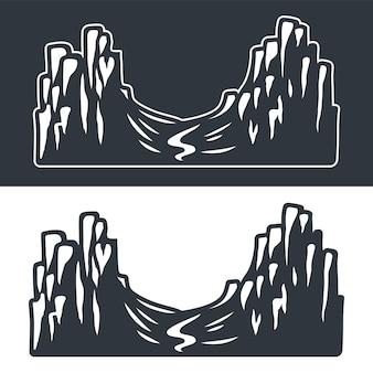 Conjunto de vector monocromo de montañas y rocas sobre un fondo oscuro y claro