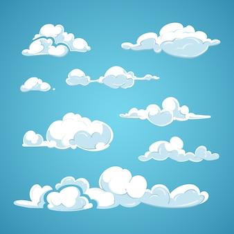Conjunto de vector de nubes de dibujos animados