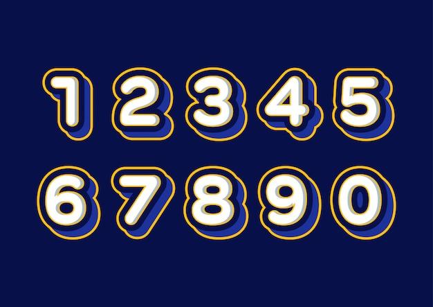 Conjunto de vector de números 3d de globo de niños juguetones
