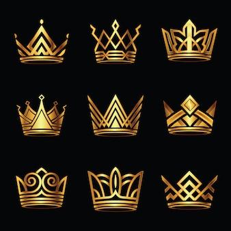 Conjunto de vector de oro moderno corona