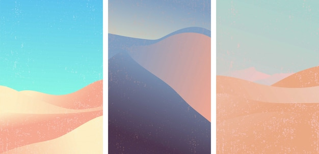 Conjunto de vector de patrón de desierto. paisaje con color degradado popular.