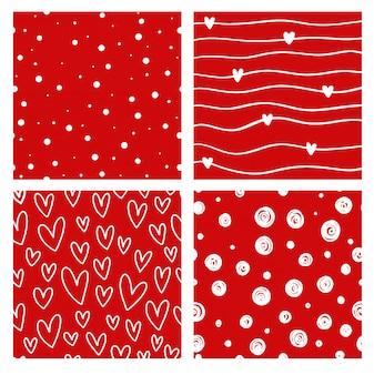 Conjunto de vector de patrón de seammles fondo rojo de san valentín.
