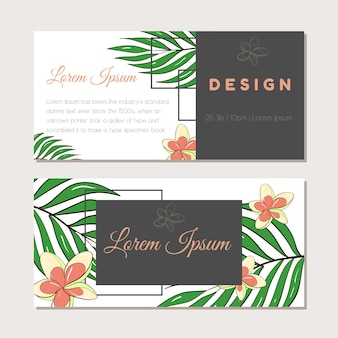 Conjunto de vector de plantilla de ilustración para una postal, tarjeta de visita o banner publicitario. espacio para el texto. ilustración de stock. una colección de pancartas con plantas tropicales para una boda o evento.
