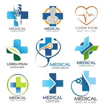 Conjunto de vector de plantilla de logotipo médico