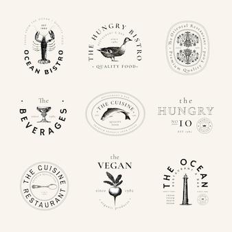Conjunto de vector de plantilla de logotipo vintage de restaurante, remezclado de obras de arte de dominio público