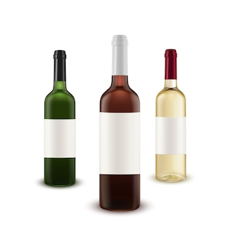Conjunto de vector realista de botellas de vino de varios colores de vidrio.