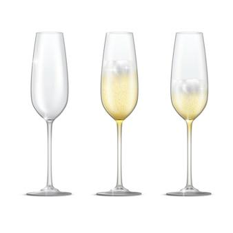 Conjunto de vector realista de copas de champán brillantes. vaso vacío, lleno y medio lleno de copa de champán.
