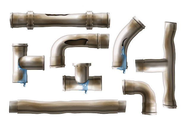 Conjunto de vector realista de tubos de acero oxidados y dañados