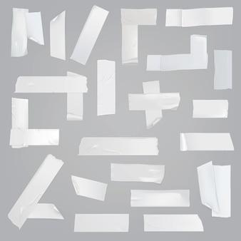 Conjunto de vector realista de varias piezas de cinta adhesiva