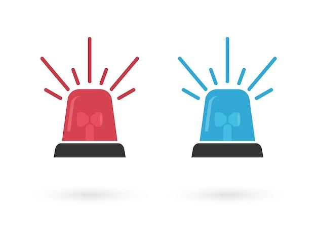Conjunto de vector de sirena de señal roja y azul. icono intermitente