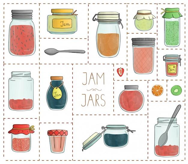 Conjunto de vector de tarros de mermelada de colores aislados. colorida colección de conservas en macetas