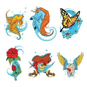 Conjunto de vector de tatuaje