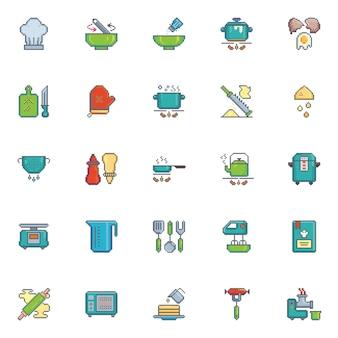 Conjunto de vector de utensilios de cocina de icono de arte de pixel