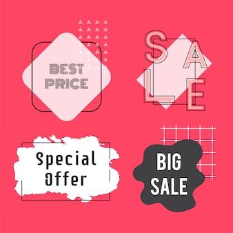 Conjunto de vector de venta y promoción de insignias.