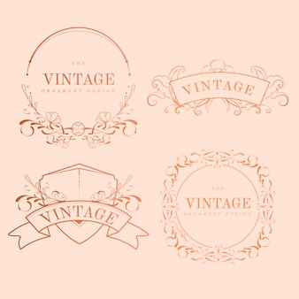Conjunto de vector vintage oro rosa art nouveau insignia