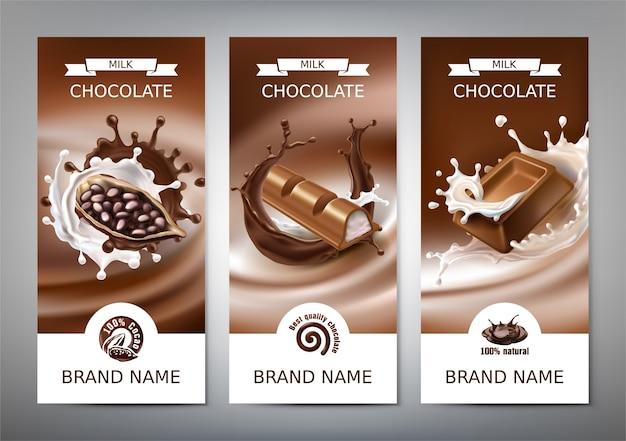 Conjunto de vectores 3d ilustraciones realistas, pancartas con salpicaduras de chocolate y leche derretida