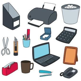 Conjunto de vectores de accesorios de oficina