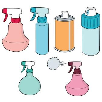 Conjunto de vectores de aerosol y botella