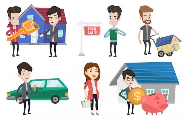Conjunto de vectores de agentes inmobiliarios y dueños de casa.
