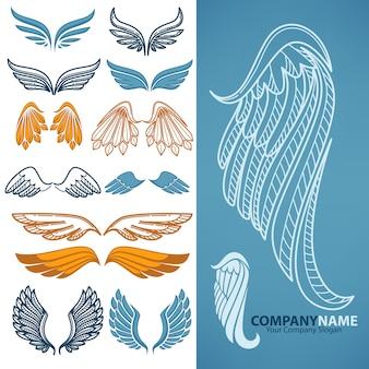 Conjunto de vectores de alas decorativas.
