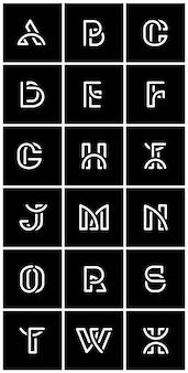 Conjunto de vectores alfabetos retro blanco